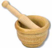 Oferta Mortero madera 14cms con maza.